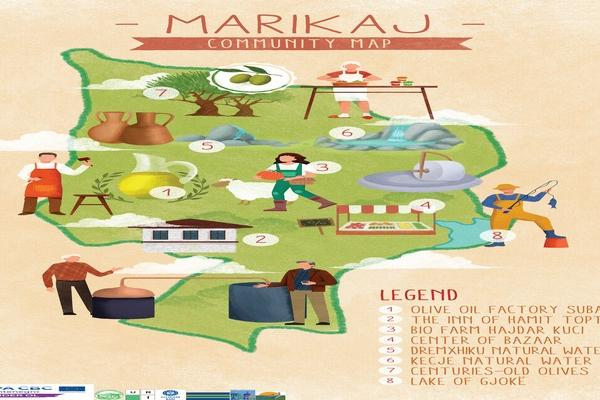 Community Map from Marikaj Administrative Unit, Tirana,  Albania